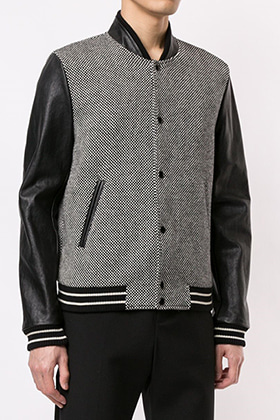 SL Checked Leather Sleeve Varsity Jacket(의견 수렴중)